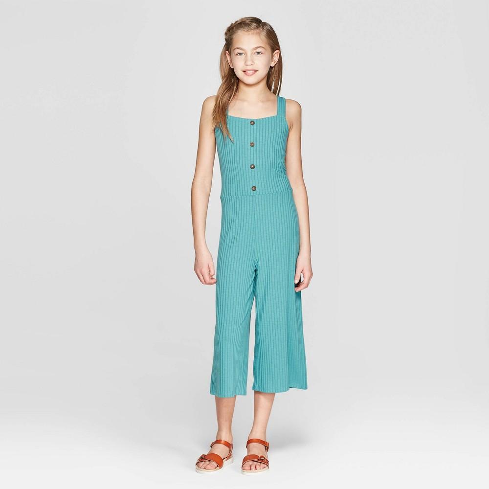 Girls' Button Front Knit Jumpsuit - art class Teal M, Blue