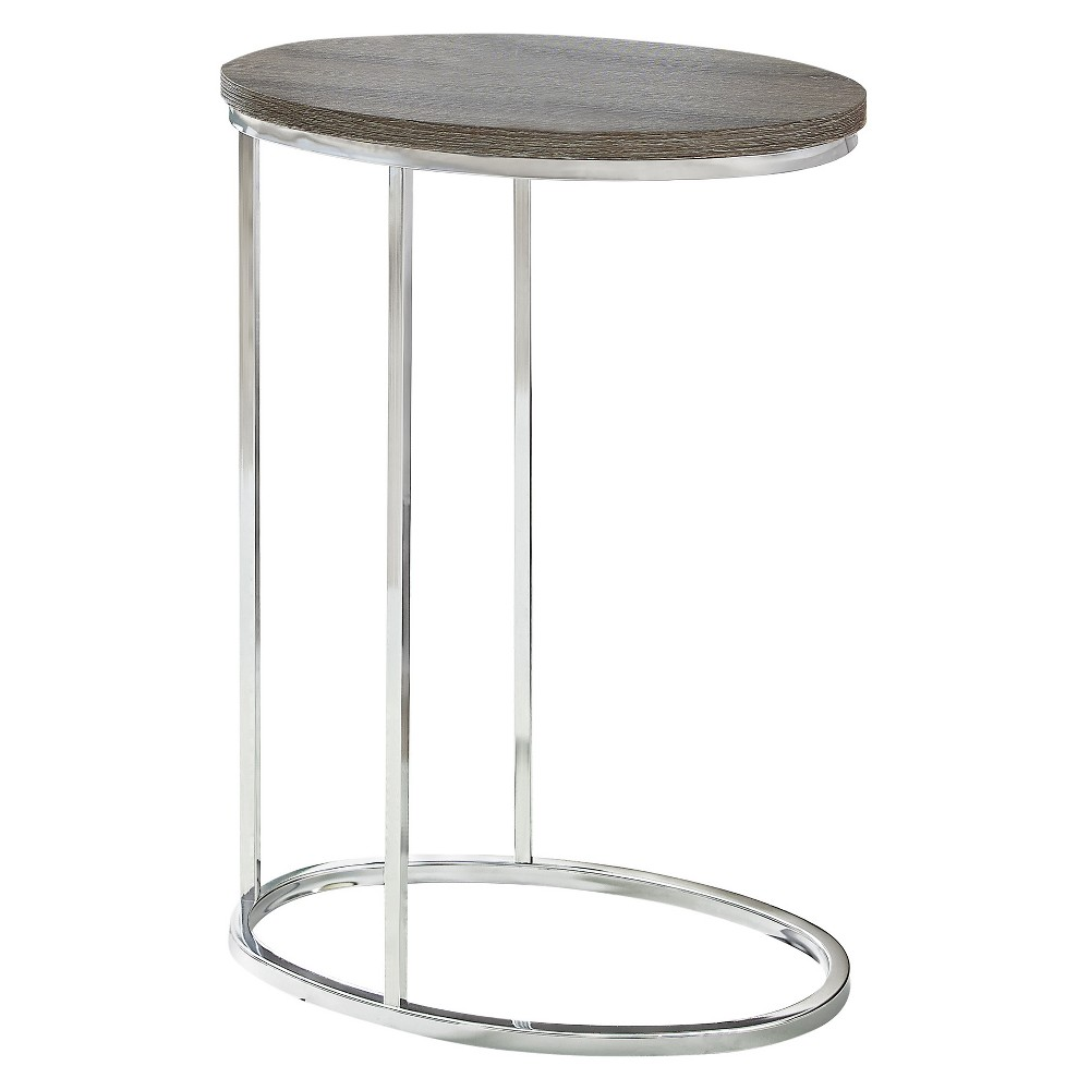 Accent Table - Oval - Chrome Metal, Dark Taupe - EveryRoom