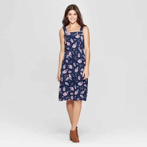 813bbd943b Women s Strappy Floral Square Neck Midi Dress - Xhilaration™ Navy ...