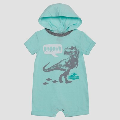 Baby Boys' Jurassic World Short Sleeve Hooded Romper - Blue 6-9M