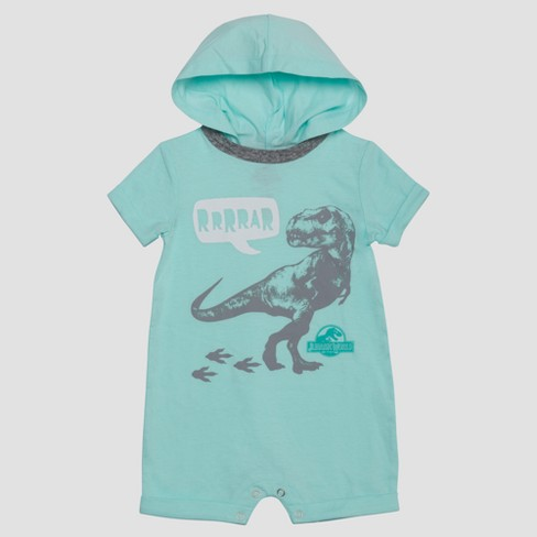 ce5ddf136 Baby Boys  Jurassic World Short Sleeve Hooded Romper - Blue   Target