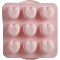 """Trudeau 10.9"""" x 9.9"""" Silicone Hearts Baking Pan Pink"""