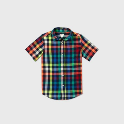 Boys' Short Sleeve Button-Down Poplin Plaid Shirt - Cat & Jack™ Red/Yellow/Blue XS
