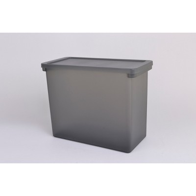 """Plastic Hanging File Crate with Lid 13.66""""x6.22""""x11.3"""" Dark Gray - Made By Design™"""