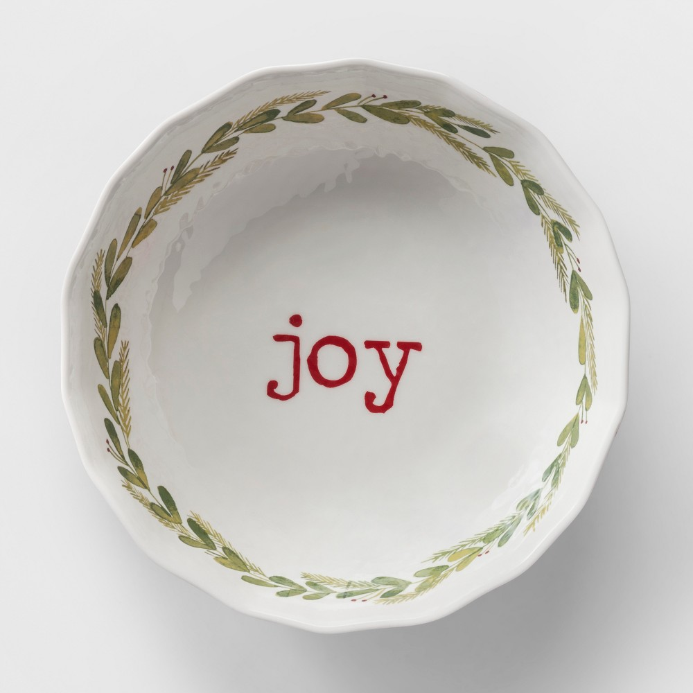90oz Plastic Joy Serving Bowl White/Green - Threshold