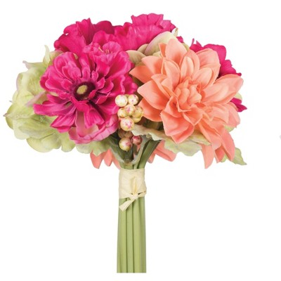 """Vickerman 10"""" Artificial Polyester Pink, Orange, and Green Poppy and Dahlia Mixed Stem Bundle"""