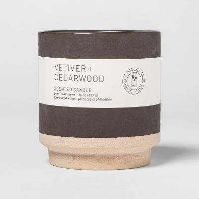 14oz Wellness Ceramic 2-Wick Vetiver and Cedar Wood Candle - Project 62™
