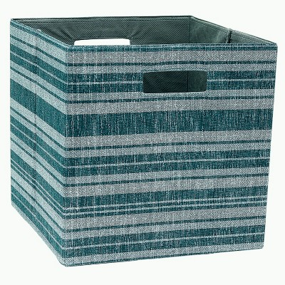 13  Cube Storage Bin Dark Teal Stripe - Threshold™