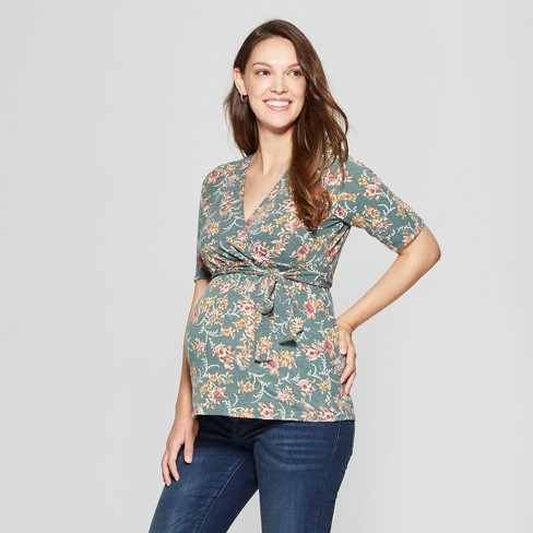 Maternity Floral Print Elbow Sleeve V-Neck Printed French Terry Top - MaCherie - Green - image 1 of 2