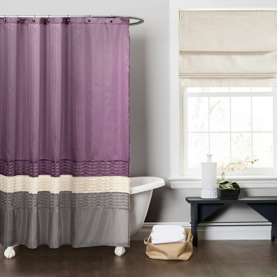 Mia Shower Curtain Purple/Gray - Lush Decor®