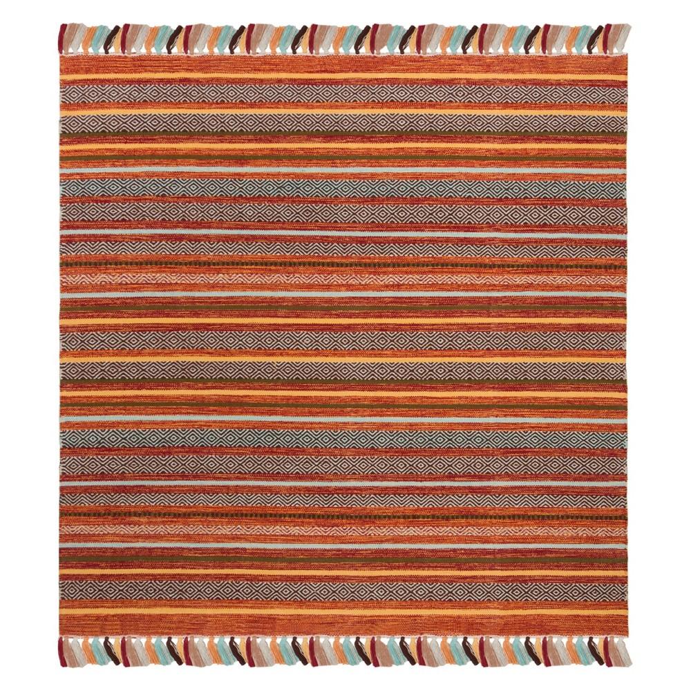 6'X6' Stripe Woven Square Area Rug Rust - Safavieh, Red/Multi-Colored
