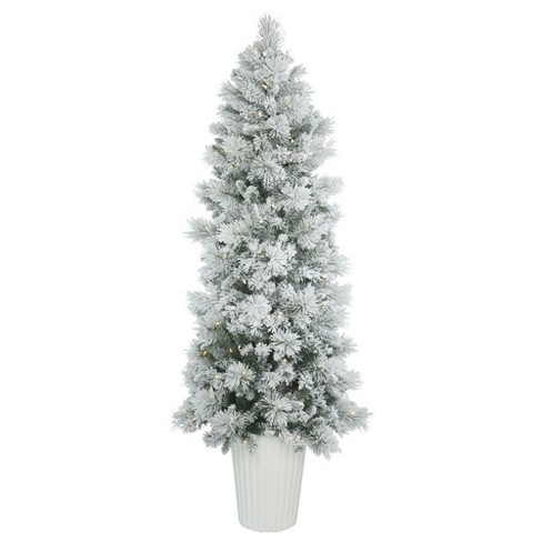 7ft pre lit artificial christmas tree slim potted flocked castle pine with 250 warm white led lights