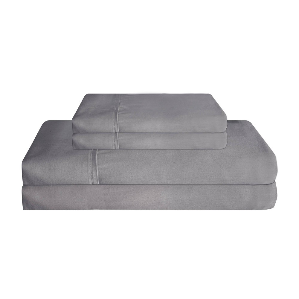 California King 310 Thread Count Cotton Super Sheet Set Charcoal Elite Home Products