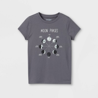 Girls' Moon Phases Graphic Short Sleeve T-Shirt - Cat & Jack™ Charcoal Gray