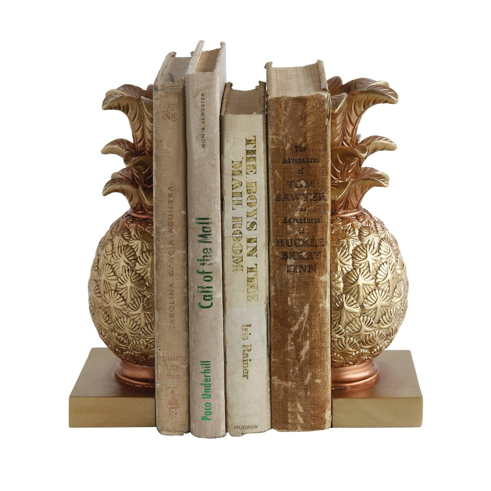 "Image of ""8.8"""" x 4.9"""" 2pc Pineapple Bookend Set Bronze - 3R Studios, Yellow"""