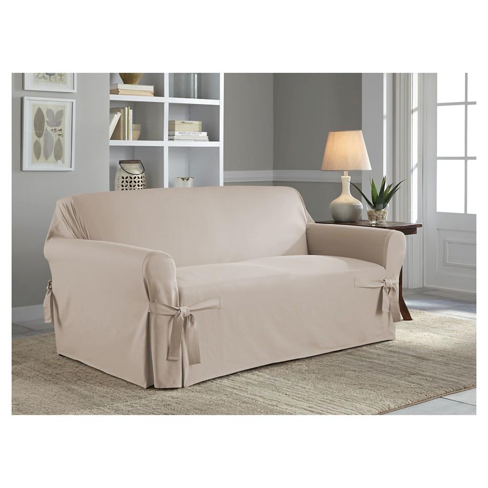 Khaki (Green) Relaxed Fit Duck Furniture Loveseat Slipcover - Serta