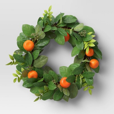 """21"""" Artificial Citrus Floral Wreath with Leaves - Threshold™"""
