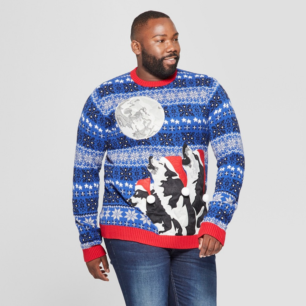 33 Degrees Men's Tall Ugly Holiday Christmas 3 Wolf Moon Long Sleeve Pullover Sweater - Blue Xlt