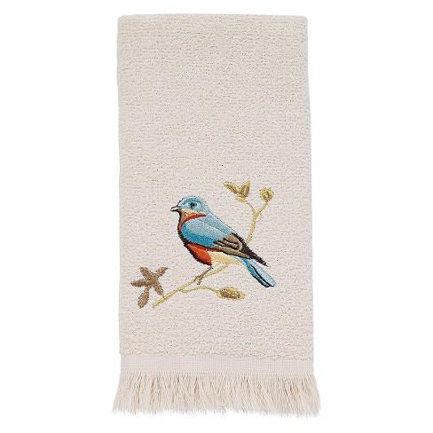 Avanti Gilded Birds Fingertip Towel Ivory Target