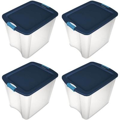 Sterilite 26 Gallon Latch & Carry Plastic Storage Tote Container Box (4 Pack)