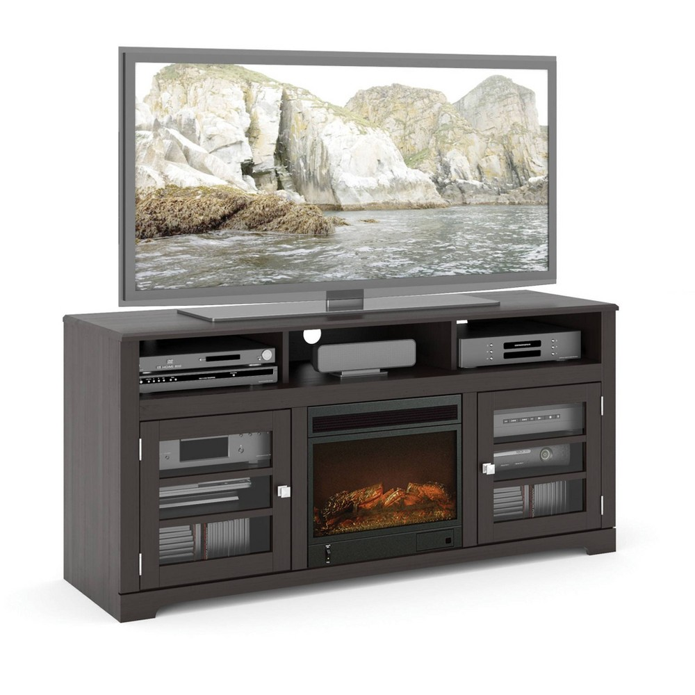 Sonax West Lake Fireplace TV Stand - Mocha Black (Fits TV upto 68)