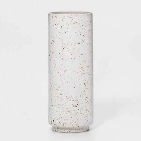 "10"" x 3.7"" Stoneware Speckled Glaze Vase White - Project 62™ - image 1 of 1"