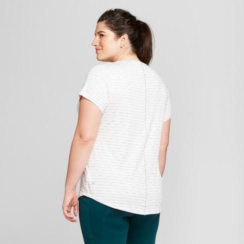 6120fee2e20fd Women s Striped Plus Size Soft Tech T-Shirt - C9 Champion® White Gray 1X    Target