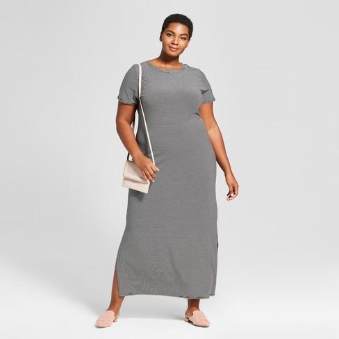 c1dfe45fd4 Women s Plus Size Striped T-Shirt Maxi Dress - Ava   Viv™ Black   Target