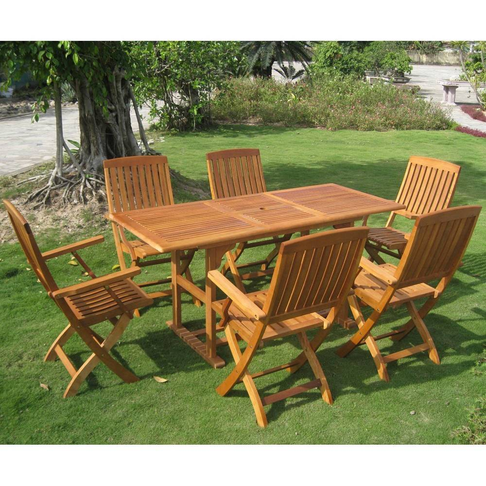 Bascara 7pc Rectangle Patio Dining Set - Brown - International Caravan