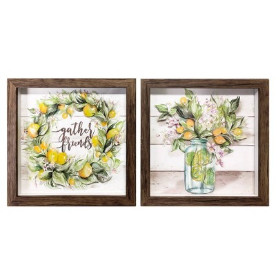 "2pk 9.5"" x 9.5"" Lemon Cut Paper Shadowbox Framed Wall Art - New View"
