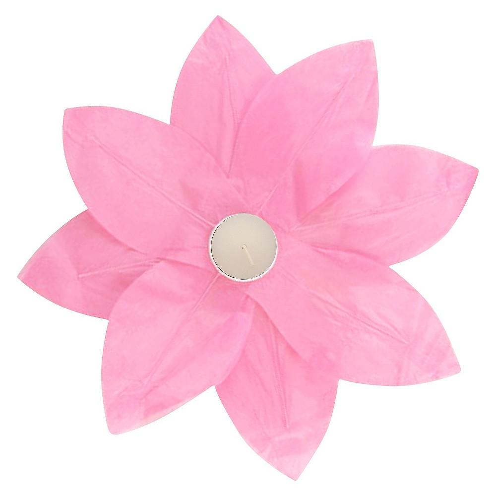 6ct Lumabase Pink Floating Lotus Paper Lantern