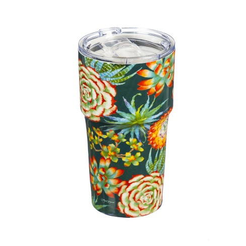 Cypress Home Double Wall Ceramic Companion Cup With Tritan Lid 13 Oz Succulent Toss Target