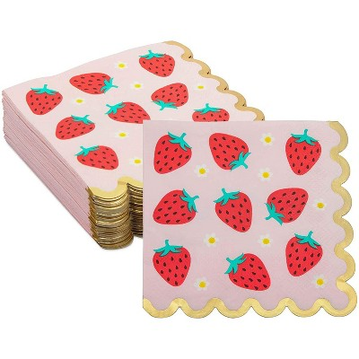 """Sparkle and Bash 50 Packs Strawberry Scalloped Paper Party Napkins with Gold Foil, 5"""""""