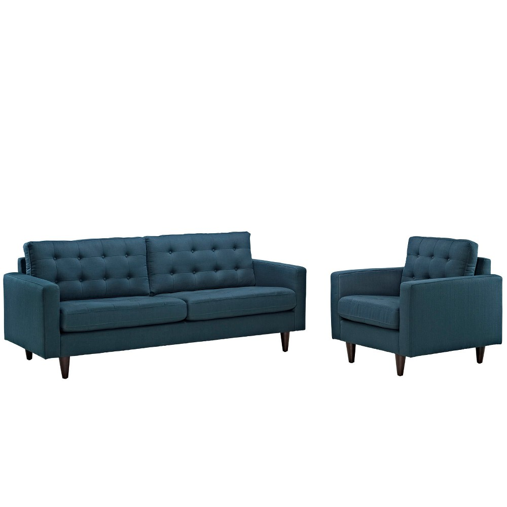 Empress Armchair and Sofa Set of 2 Azure (Blue) - Modway
