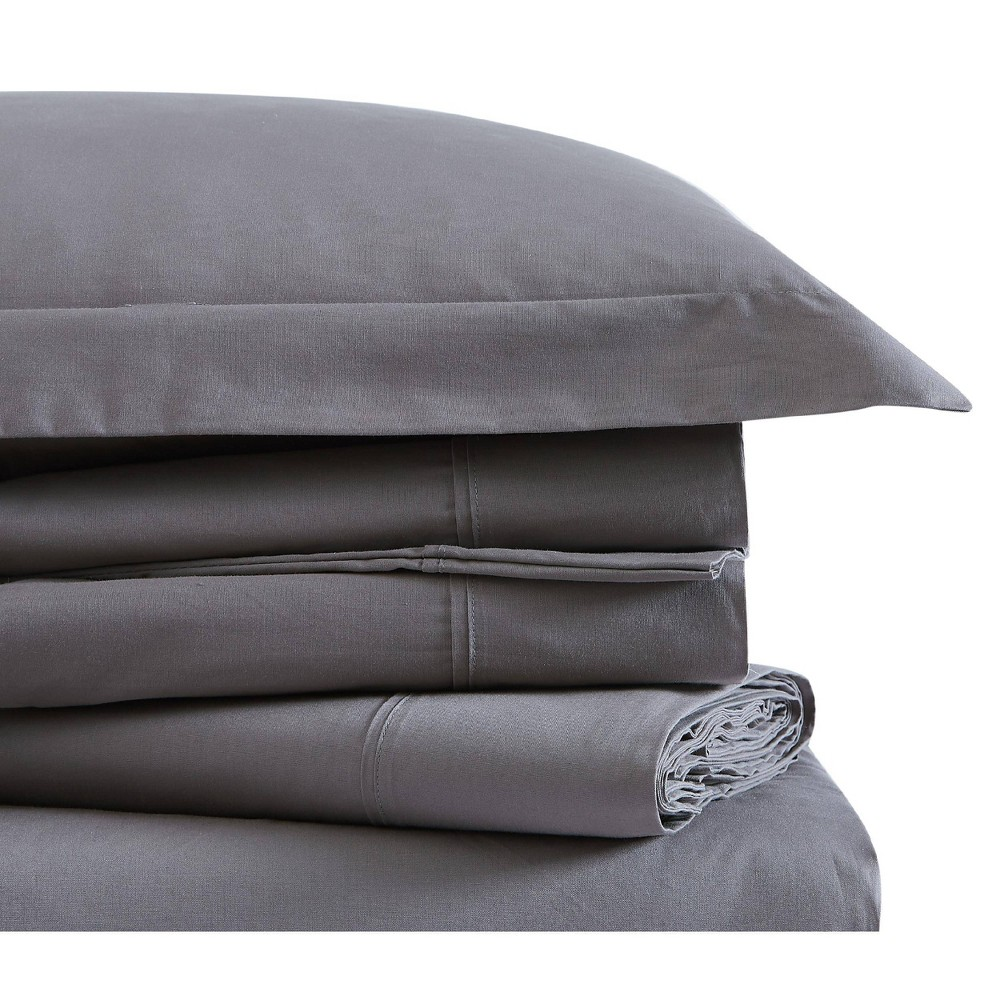 Image of Twin Classic Cotton Solid Sheet Set Gray - Brooklyn Loom