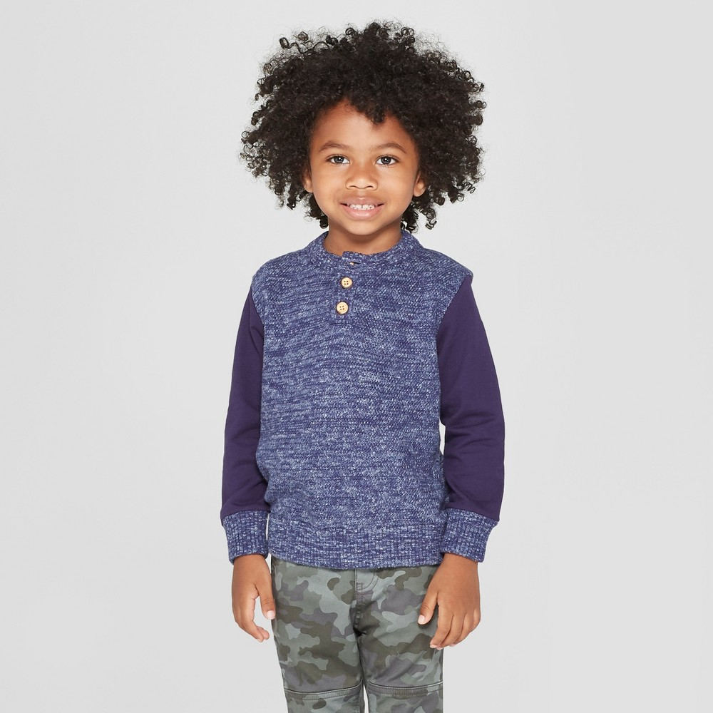 Toddler Boys' French Terry Henley Long Sleeve Sweater - Cat & Jack Blue 2T