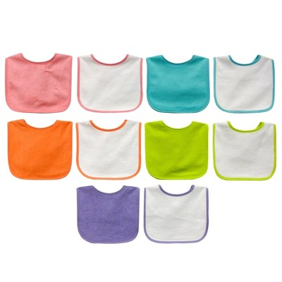 Neat Solutions 10pk Water Resistant Bib Set - Assorted Bright Pinks