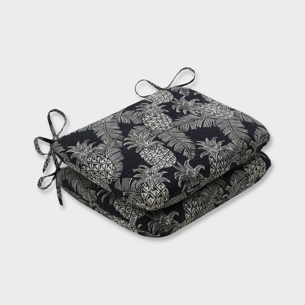 2pk Carate Batik Noche Rounded Corners Outdoor Seat Cushions Black - Pillow Perfect