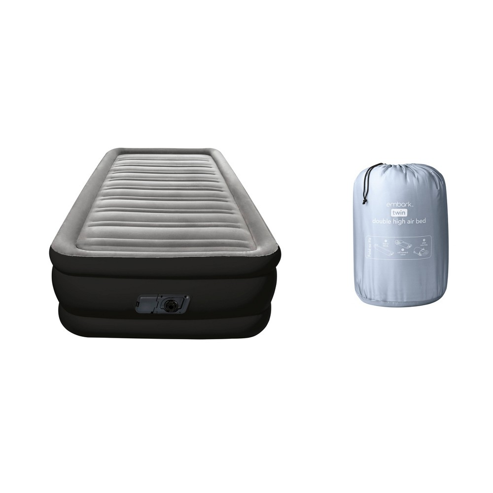 Image of Double High Twin Air Mattress with Built-In Pump - Embark