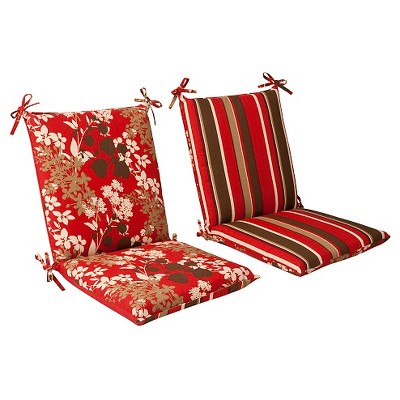 Outdoor Reversible Seat Pad/Dining/Bistro Cushion - Brown/Red Floral/Stripe