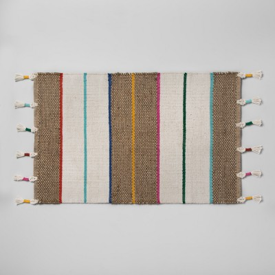 34 x20  Striped Natural Braided Jute Tasseled Accent Rug - Opalhouse™