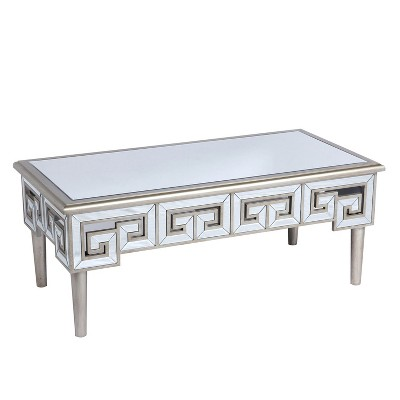 Wallace & Bay 47 Inch Mirror Top Rectangle Accent Coffee Table with Greek Style Key Pattern and Beveled Mirror Finish, Champagne