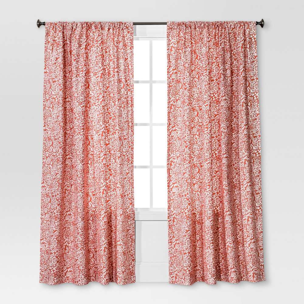 Floral Paisley Window Curtain Panel Coral (Pink) (54