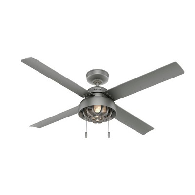 """52"""" Spring Mill Damp Rated Ceiling Fan Silver (Includes LED Light Bulb) - Hunter Fan"""