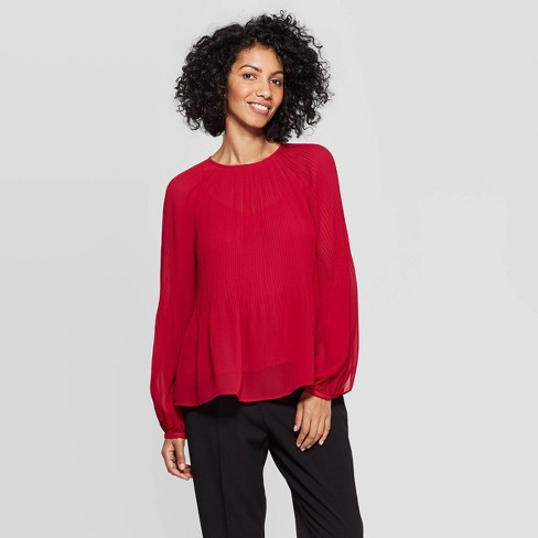 Women's Regular Fit Long Sleeve Crewneck Pleated Blouse - A New Day™ - image 1 of 3