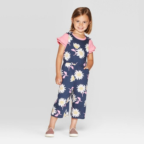 Toddler Girls' Ruffle Sleeve Top and Floral Overall Set - Cat & Jack™ Pink/Navy - image 1 of 3