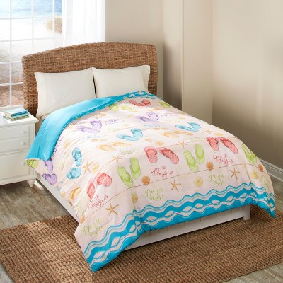 Lakeside Flip Flop Comforter with Beach Vacation-Themed Print