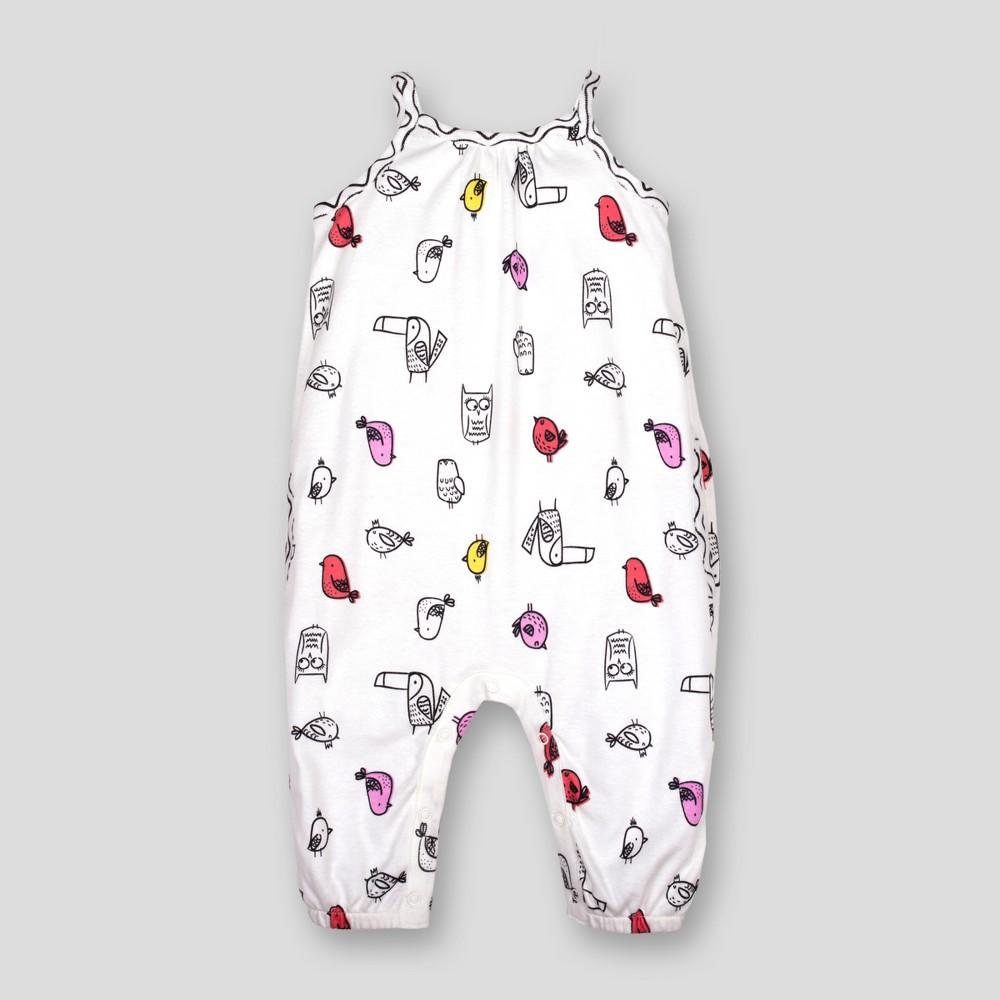 Lamaze Baby Girls' Organic Cotton Birds All Over Print Romper - White Newborn