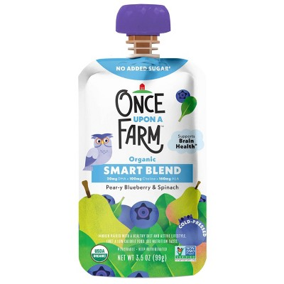 Once Upon a Farm Organic Pear-y Blueberry & Spinach Smart Blend 12+ Months - 3.5oz Pouch