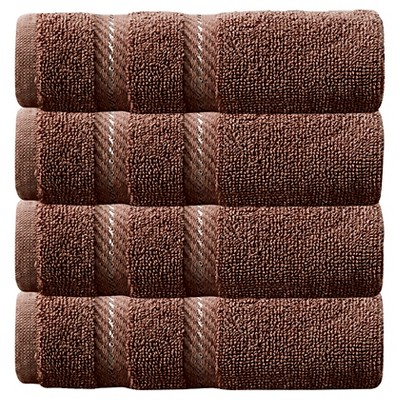 4pc Antalya Turkish Washcloth Towels Set Chocolate - Makroteks